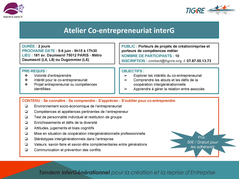 Flyer de l'atelier TIGcRE des 5 et 6 juin 2015 à Paris